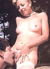 Outdoor pussy licking in late 60s